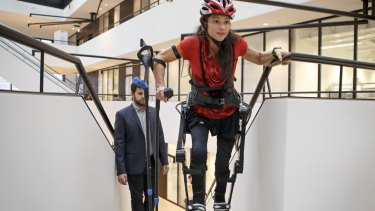 "Switzerland's handbike paraplegics athlete Silke Pan makes a demonstration of the new version 2018 of the exoskeleton ""Twiice One"" by the Robotic Systems Laboratory of EPFL  in Lausanne,."