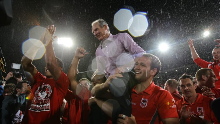 Hero to villain: Wayne Bennett and the Dragons celebrate a premiership in 2010. But things have soured between the super coach and Dragons since.