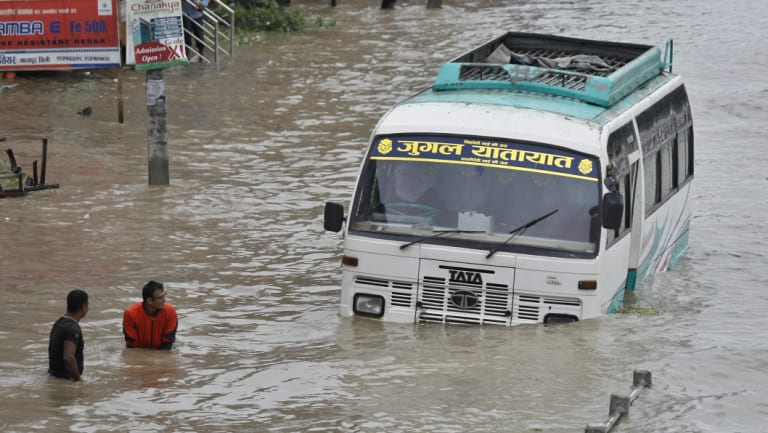 Heavy rains have caused widespread floods and death in Bhaktapur, Nepal.