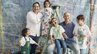 """Michael """"Wippa"""" Wipfli (left) and Ryan """"Fitzy"""" Fitzgerald with their children (from left) Ted and Jack Wipfli and Lennox and Hewston Fitzgerald."""