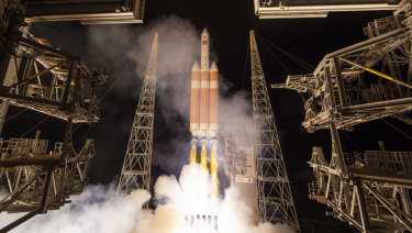 A Delta IV rocket, carrying the Parker Solar Probe, lifts off from the Kennedy Space Centre at Cape Canaveral on Sunday.
