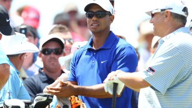 In competition: Tiger Woods graced the Australian Open at The Lakes in 2011.