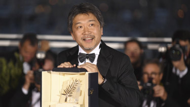 Director Hirokazu Kore-eda holds the Palme d'Or for the film 'Shoplifters'.