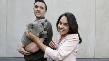 Labor Senator Lisa Singh with a koala during the Threatened Species Day event at Parliament House on Monday.