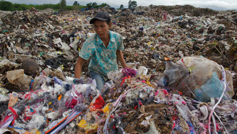 A dump in Mae Sot, north-west Thailand where locals sift through rubbish looking for plastics they can recycle.