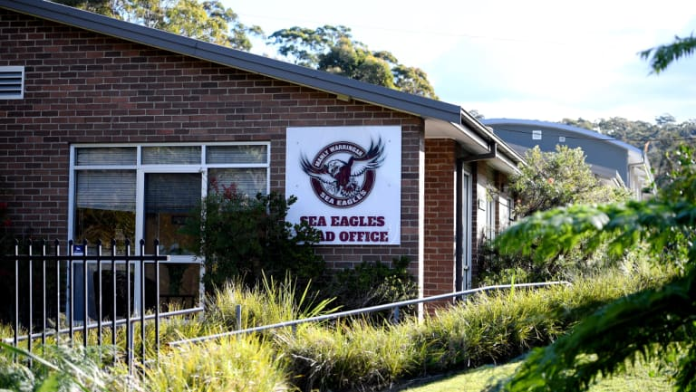 Breach: NRL officials visited the Manly-Warringah Sea Eagles club headquarters before handing down their verdict.