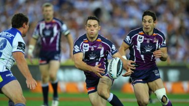 Cronk alongside Billy Slater in the 2012 grand final victory over the Bulldogs.