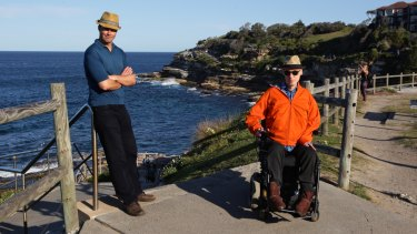 Adam Long and Justin Reid on the Bondi-to-Bronte coastal walk.