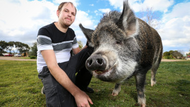 Matthew Evans and his pig Grunt.