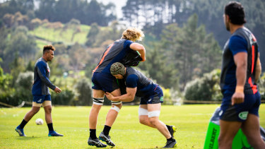 The Wallabies trained on Waiheke Island on Thursday.
