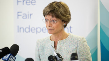 Victorian Ombudsman Deborah Glass at the release in March of her report into Labor's misuse of public funds.