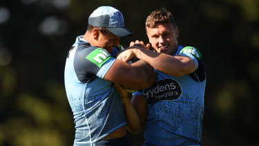 Raring to go: Jack Wighton and Latrell Mitchell at NSW training on Friday.