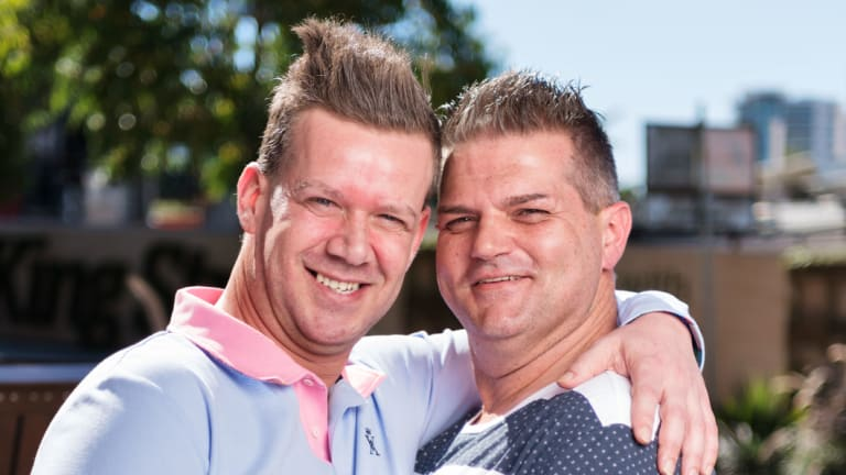 Christian Leatherbarrow (left) and Brad Hicks (right) will tie the knot in a public ceremony on Saturday as part of Brisbane Festival's Qweens on King.
