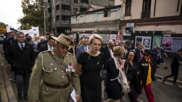 Colin Watego and MP Tanya Plibersek at the commemoration service last Anzac Day.