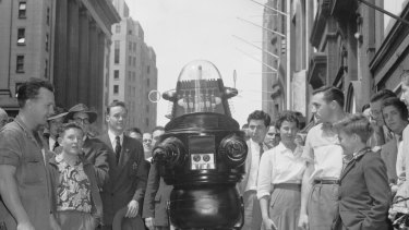 "The ""polite and witty"" Robby The Robot visits Sydney to promote the M.G.M. film Forbidden Planet on 16 October 1956."