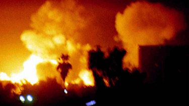 Air strikes hit Baghdad during the invasion in 2003.