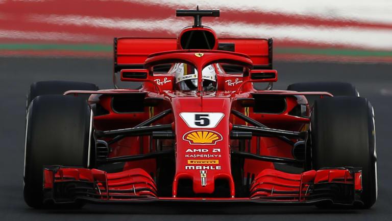 Sebastian Vettel in action in Barcelona pre-season testing.