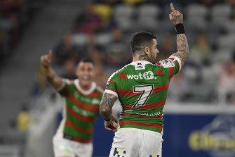 Adam Reynolds celebrates the match-winning field goal for South Sydney.
