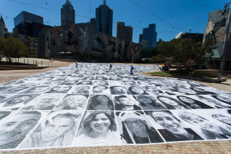 Self-portraits from the PHOTO 2021 Inside Out Project at Federation Square.