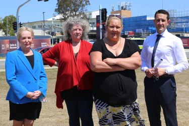 LNP health spokeswoman Ros Bates (left), patients advocate Beryl Crosby, Caboolture Hospital patient Olivia Keating and Queensland Opposition Leader David Crisafulli call for a wider inquiry into Caboolture Hospital.