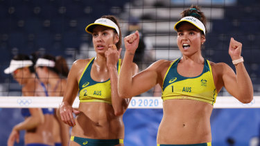 Mariafe Artacho del Solar #1 and Taliqua Clancy #2 of Team Australia react after they defeated Team China.