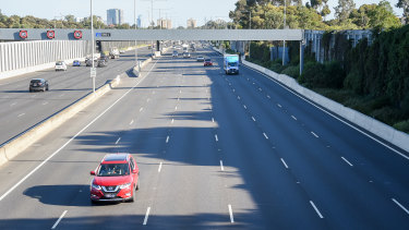 Peak-hour traffic on the Tullamarine Freeway on Thursday, March 26.