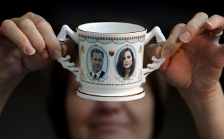 A William and Kate commemorative cup.
