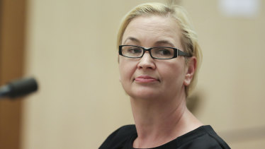 Great Barrier Reef Foundation managing director Anna Marsden, before the Senate inquiry on Tuesday.