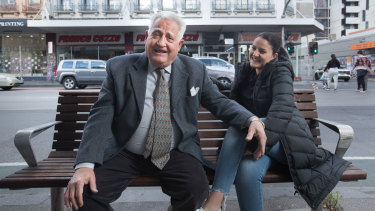 Franco Cozzo and his daughter Angelina outside his store in Brunswick on Wednesday.