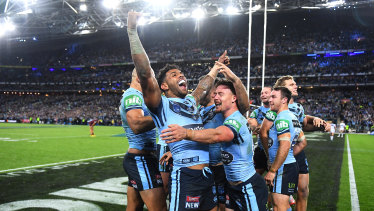 NSW celebrate their 2019 State of Origin series triumph.