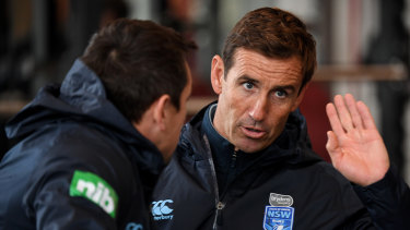 Pearce offering: Andrew Johns and Mitchell Pearce at Blues training in July.