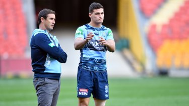 NSW coach Andrew Johns with Nathan Cleary.