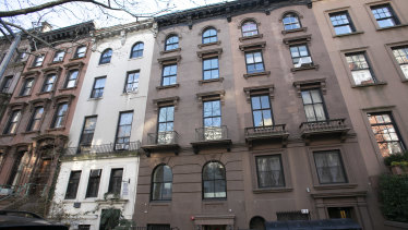 A brownstone apartment building, centre right, owned by Kushner Companies in Brooklyn Heights, New York.