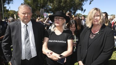 Liberal MP Bridget Archer, right, with Opposition Leader Anthony Albanese and rally organiser Janine Hendry at the March 4 Justice at Parliament House on Monday.