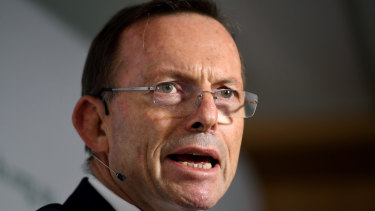 Tony Abbott delivers a speech at the Centre for Independent Studies on Monday.