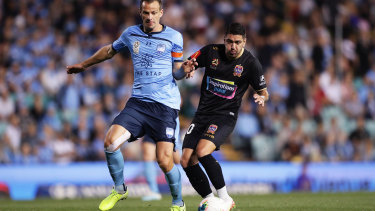 Sydney FC'S Alex Wilkinson, left, has no doubt the Sky Blues can handle whatever the Victory dish up in Sunday's Big Blue.