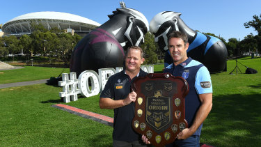 Maroons coach Kevin Walters and Blues coach Brad Fittler outside Adelaide Oval at the State of Origin series launch earlier in the year.