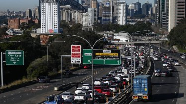 Gridlock on the approach to the Sydney Harbour Bridge after this morning's fatal crash.