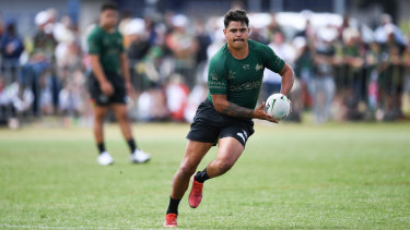 Latrell Mitchell at training South Sydney training on Tuesday.
