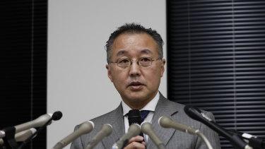 Noriyuki Yamaguchi speaks at a news conference on Wednesday.