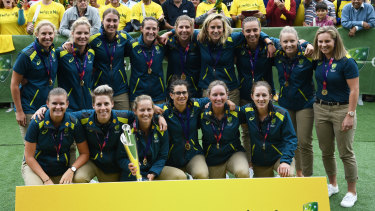 Celebrations: Australia's women were acknowledged for their world T20 success in Melbourne on Thursday.