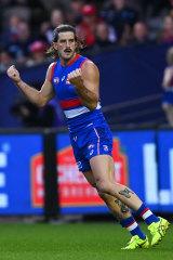 Josh Bruce celebrates a goal for the Bulldogs.