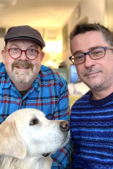 Australian couple Andy Prior, left, and Peter O'Shea are locked down in rental accommodation with their dog Lenny, near their new to-be house in the French countryside.