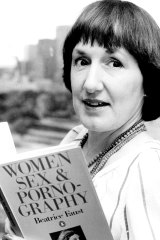 "Beatrice Faust with her novel ""Women, Sex and Pornography"" in 1981."