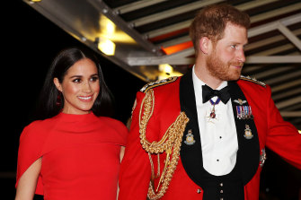 Prince Harry, Duke of Sussex and Meghan, Duchess of Sussex, arrive at Royal Albert Hall on Saturday in London.