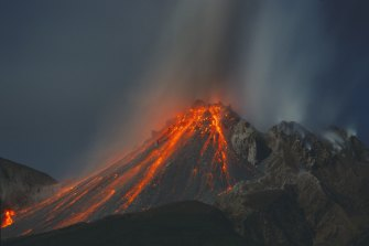 Lava flows from the volcanic eruption of the Soufriere Hills.