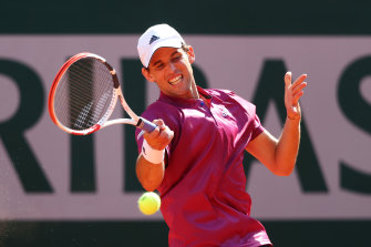 Dominic Thiem of Austria plays a forehand in his first round match against Pablo Andujar of Spain during day one of the 2021 French Open at Roland Garros.