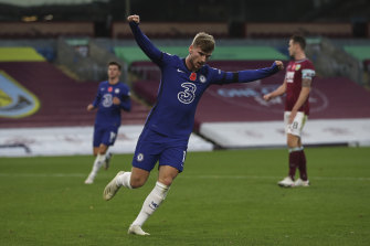 Timo Werner celebrates his goal for Chelsea.
