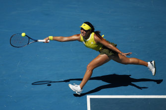 Jessica Pegula stretches for a forehand in her win over Elina Svitolina of Ukraine on Monday.