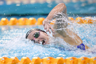Ariarne Titmus flirted with Katie Ledecky's world record on the way to the second fastest 400m freestyle in history.